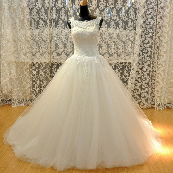 Graceful A-line Appliqued Rhinestone Beaded Lace Up Illusion Neck Open Back Chapel Train Tulle Ball Gown ,Wedding Dress - Solodresses