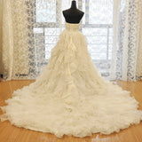 Charming Strapless Sweetheart Neck Lace Up Cathedral Train Organza Ruffle Wedding Dresses,Wedding Ball Gown - Solodresses