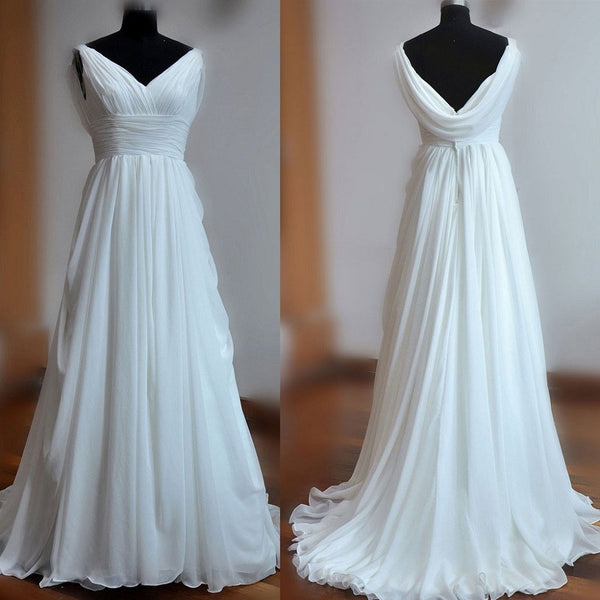 A-line Backless V-neck Sweep Train Ruched Chiffon Beach Wedding Dresses - Solodresses