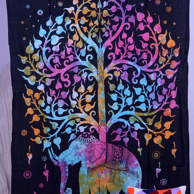 Multi-colored Kayso Tree of Life Psychedelic Elephant Tapestry