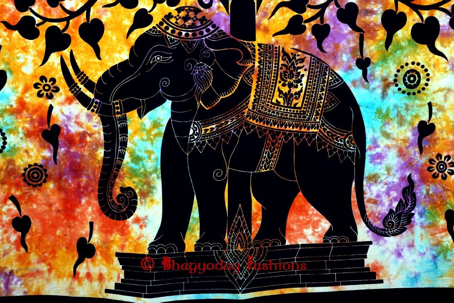 Psychedelic Celestial Elephant Tree Tapestry