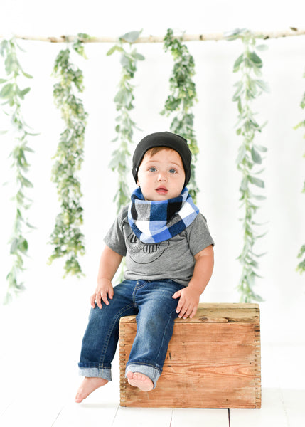 Blue Paid Snap Scarf