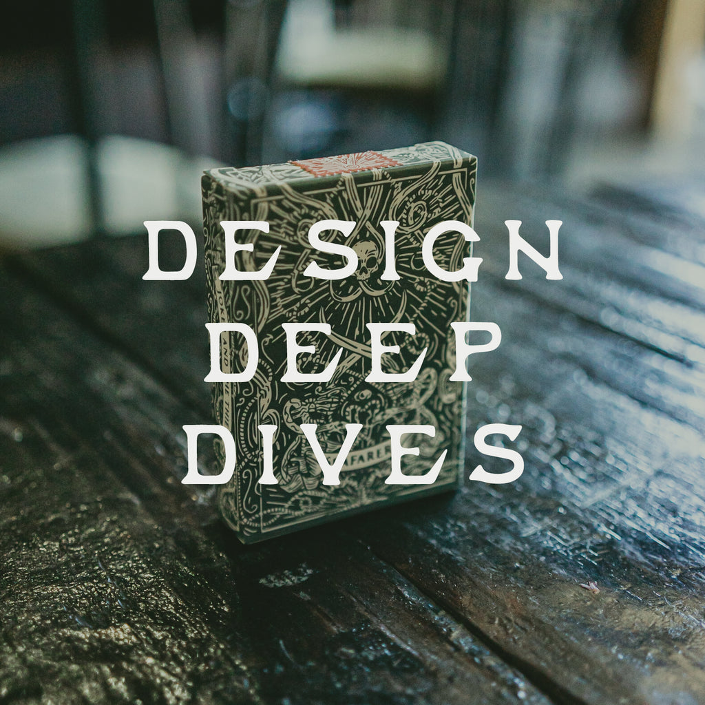 "Text that reads ""Design Deep Dives"" overlaid on a predominately green image with a deck of nautical themed playing cards standing upright on a antique coffee table"