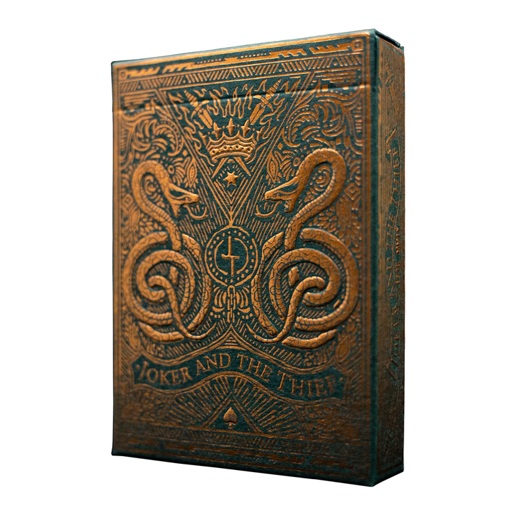 The front of the tuck box for Joker and the Thief: Edition 5 featuring green paper and embossed copper foil elements