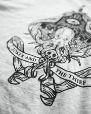 Close up image detailing the screenprint quality of the Seafarers Spade apparel. The t-shirt's print was conducted by Portland Gear in Oregon