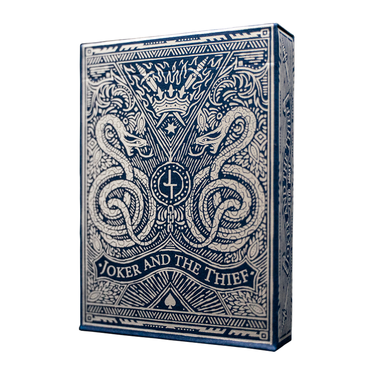 The front of the tuck box of Midnight Blue Edition Playing Cards