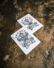 The two joker cards of Street Edition featuring gray and red ink as well as metallic silver ink