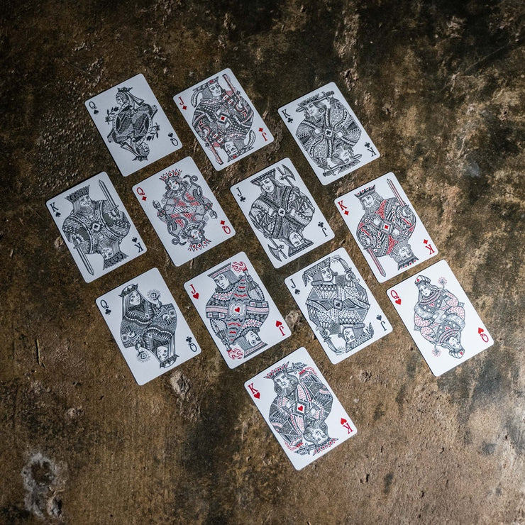 A top down shot of the kings, queens, and jacks all on display from Street Edition Playing cards