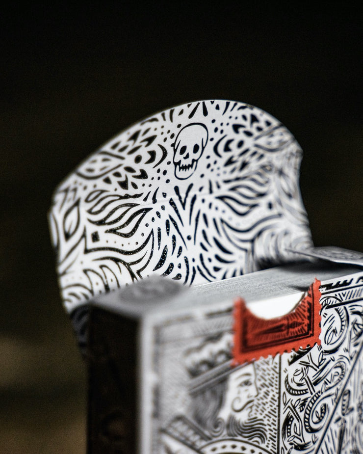 The interior of the tuck box of Street Edition Playing Cards revealing an intricate floral pattern