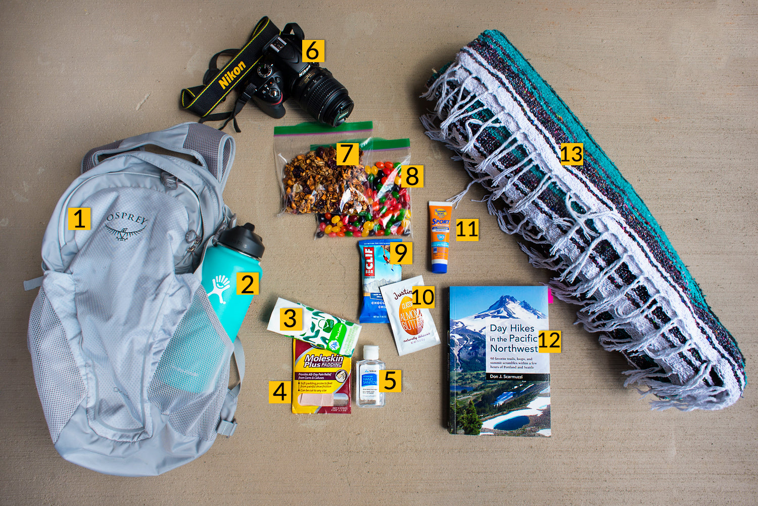 grab and go day hiking supplies
