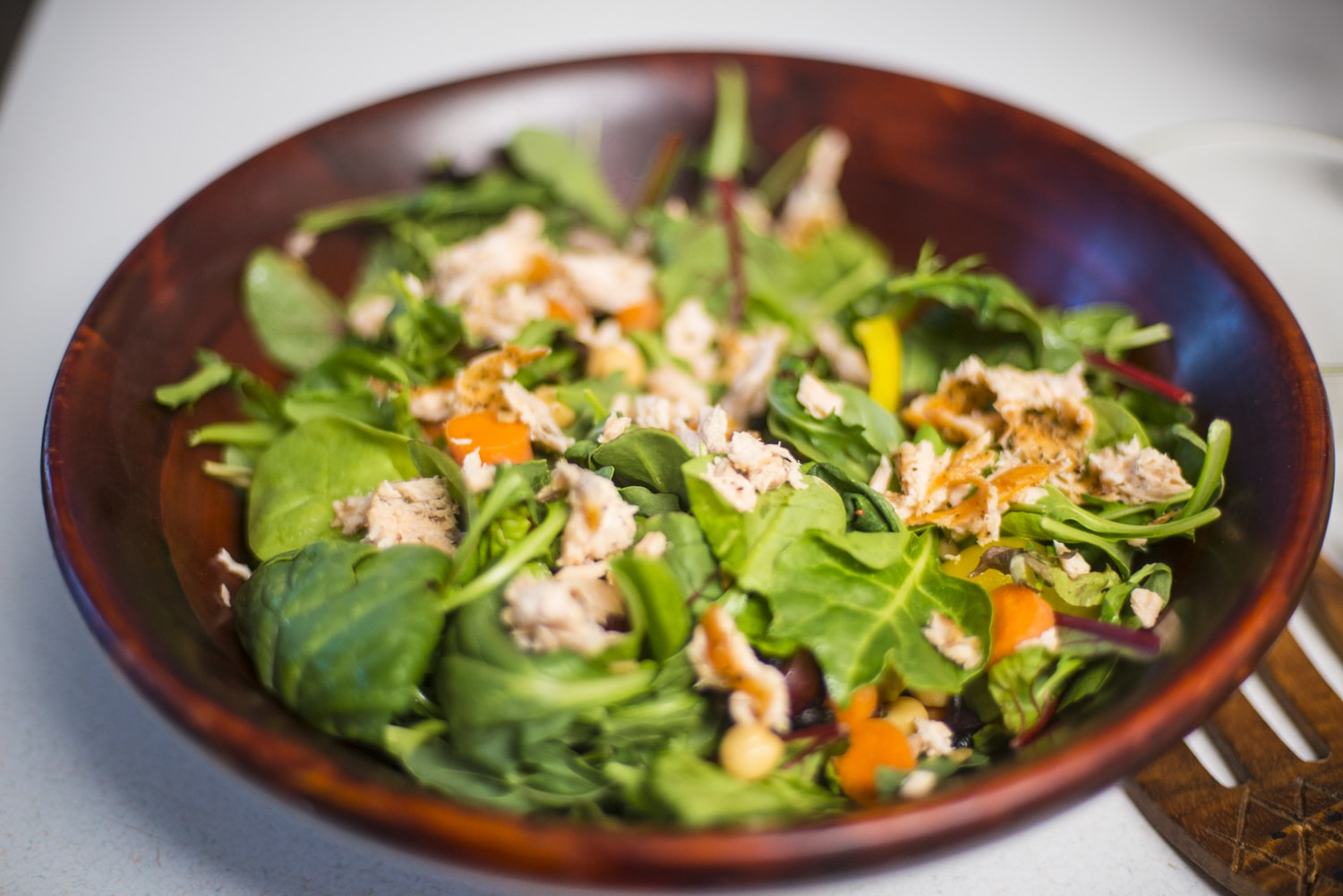 Throw those delicious bite sized salmon pieces into your salad, and add a couple tablespoons of your Agave Nectar salad dressing.
