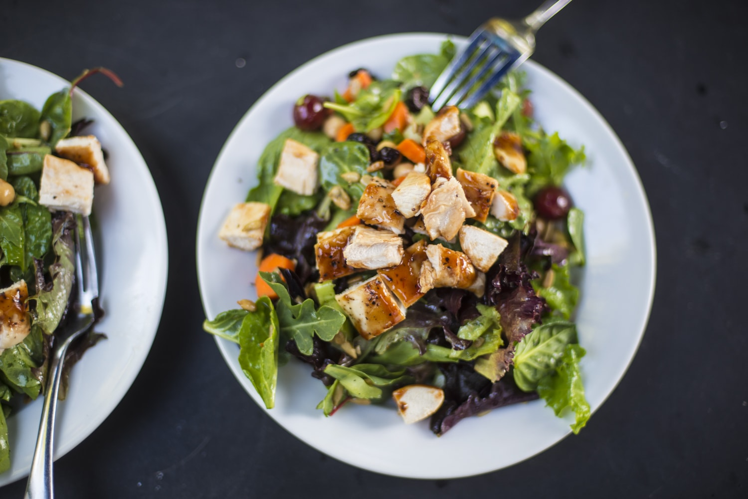 Crunchy Green Salad with BBQ Chicken and Agave Nectar