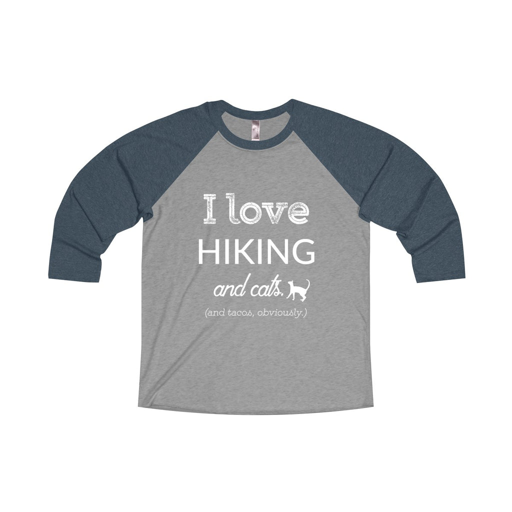 I Love Hiking and Cats and Tacos Baseball Tee