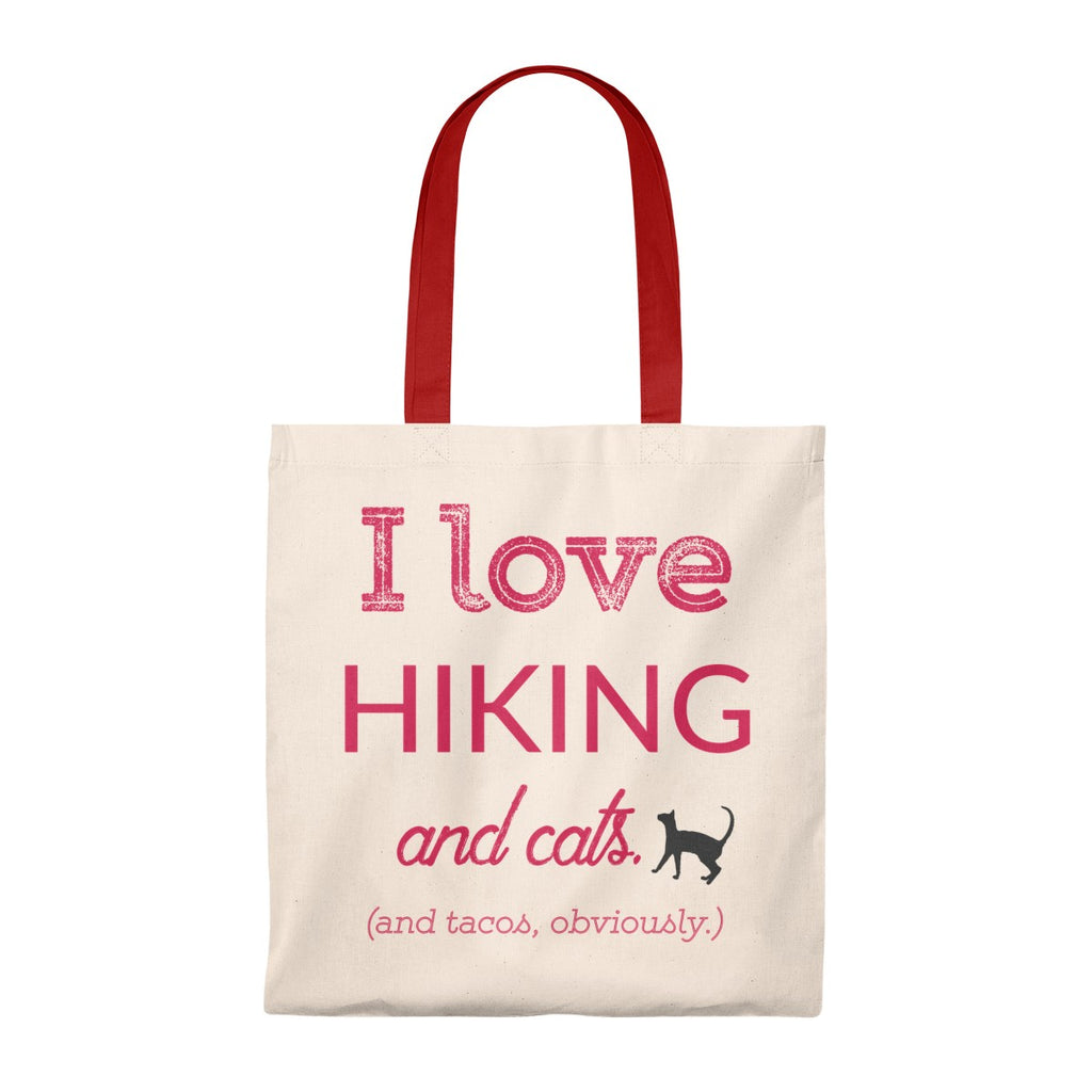 I Love Hiking and Cats and Tacos Tote Bag - Vintage