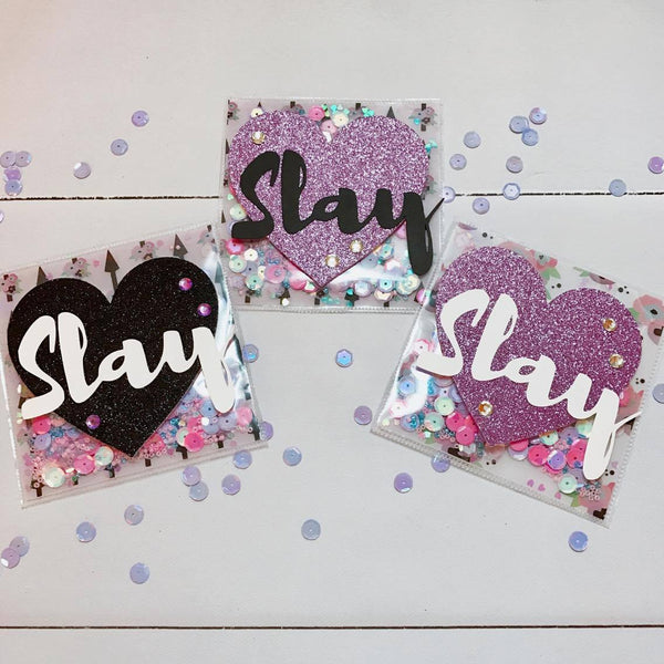 Slay It Girl Shaker Cards By Sabrina Ann. Papercakes design team. www.serenabee.com
