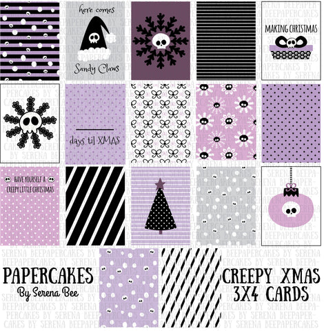 creepy xmas journaling cards. papercakes by serena bee