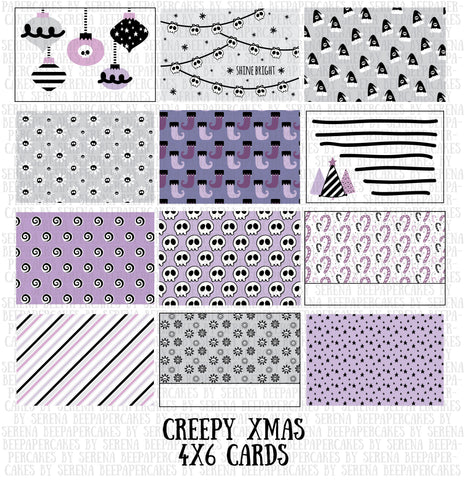 creepy xmas journaling card set. papercakes by serena bee