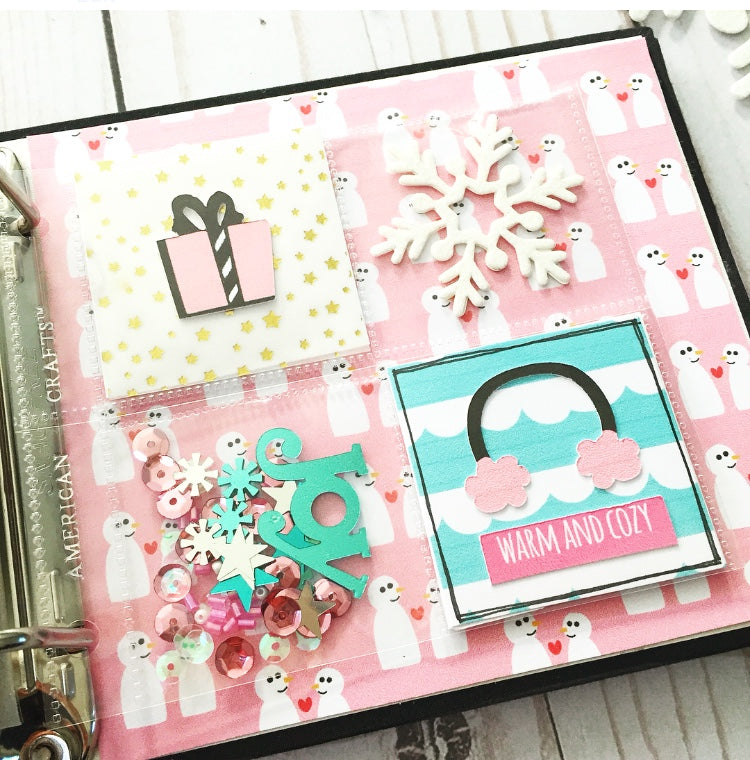 Snow Day 4x4 Mini Album By Vyvie! guest designer for Papercakes. shop.serenabee.com