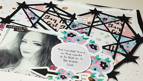 12 x 12 Scrapbooking Layout ft. Slay It Girl Collection By Rachel. Papercakes design team. www.serenabee.com
