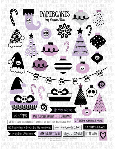 creepy xmas element sheet. papercakes by serena bee