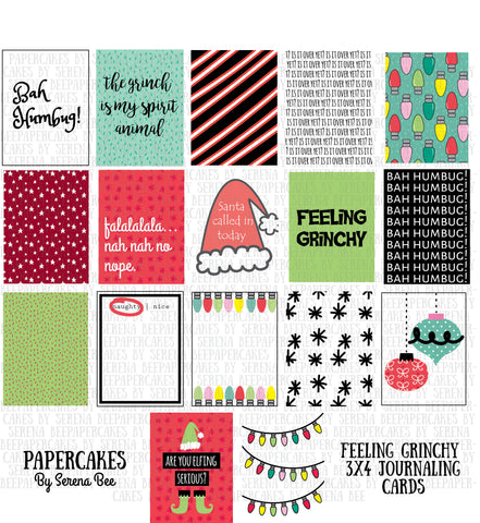 feeling grinchy 3x4 journaling cards. papercakes by serena bee