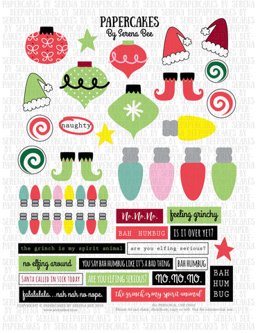 feeling grinchy element sheet. papercakes by serena bee