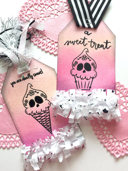 Deadly Desserts Oversized Tags By Annie. Papercakes design team. www.serenabee.com