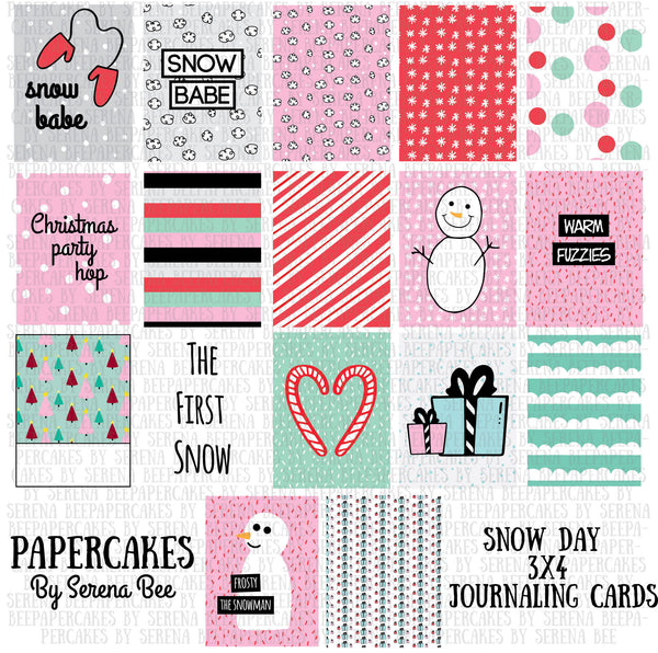 snow day 3x4 journaling cards. papercakes by serena bee