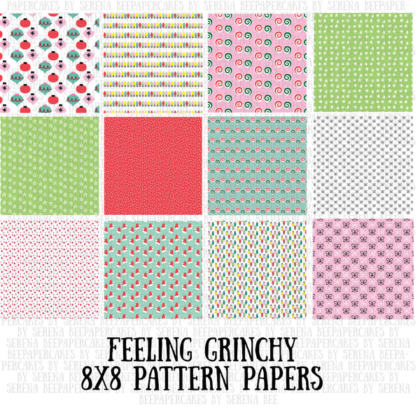 feeling grinchy 8x8 pattern papers. papercakes by serena bee