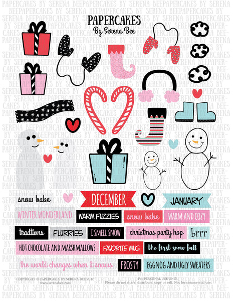 snow day element sheet. papercakes by serena bee