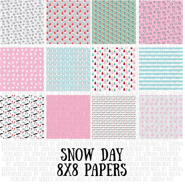 snow day 8x8 pattern papers. papercakes by serena bee