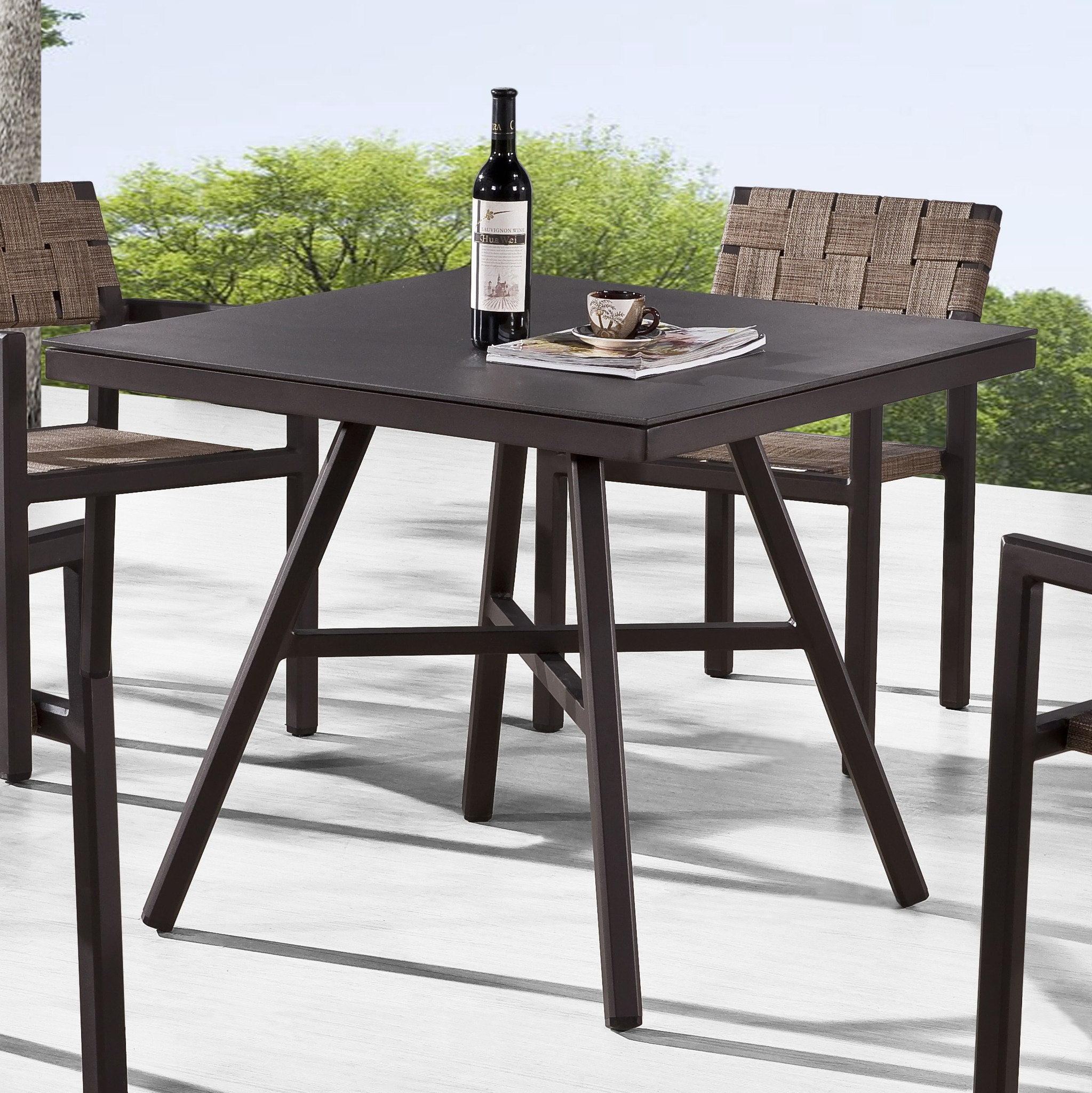 Contract quality outdoor furniture dining table glass top