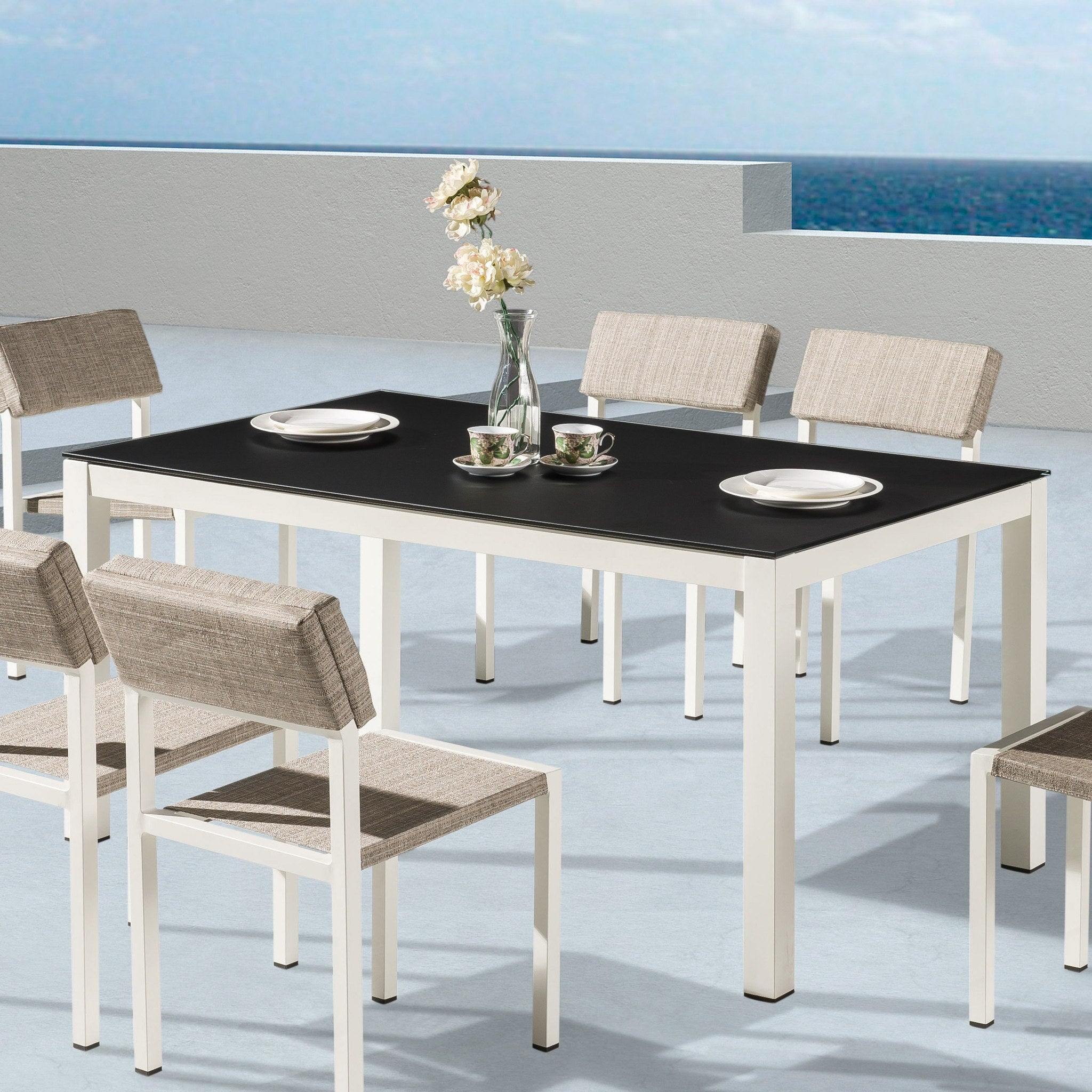 barite dining table b wfrosted glass top -