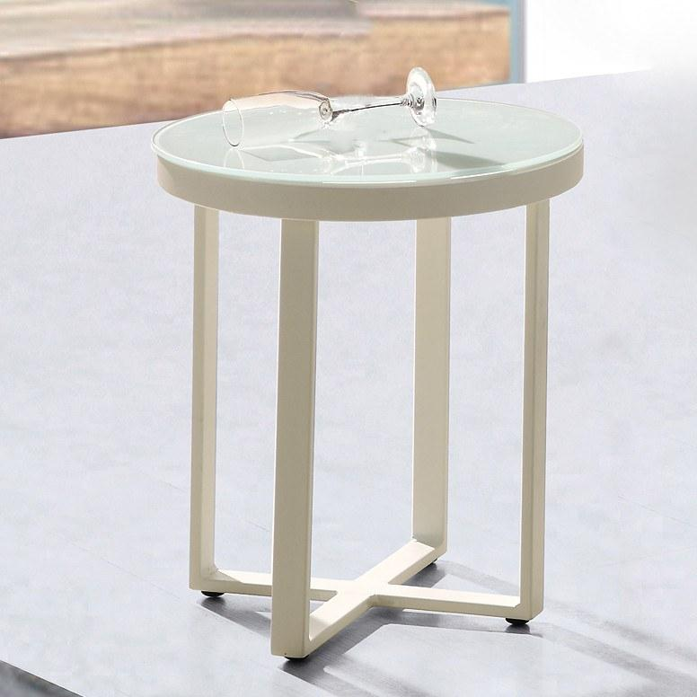 ORLANDO Round Side Table W/Frosted Glass Top
