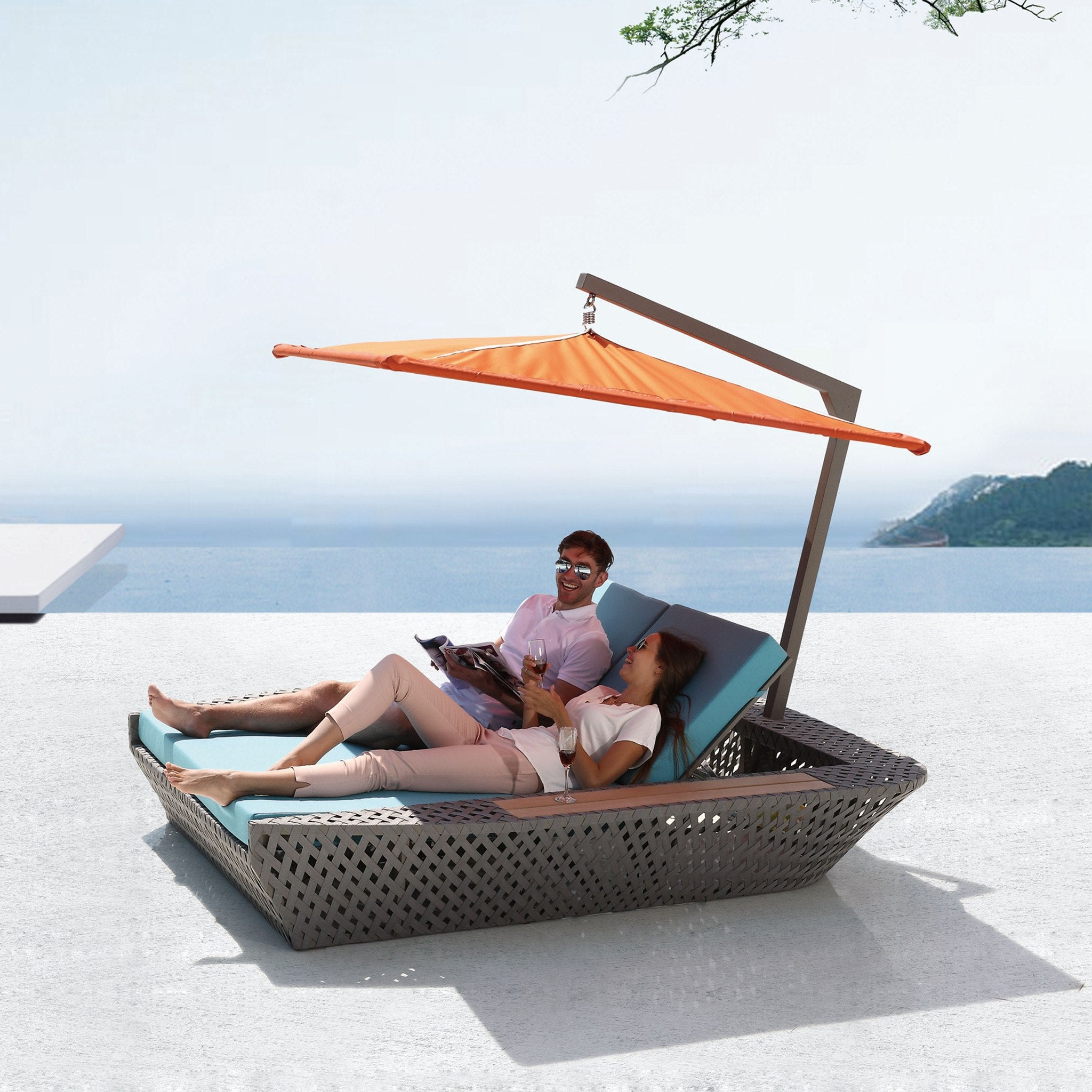 Contract Quality Outdoor Furniture Double Chaise Lounge