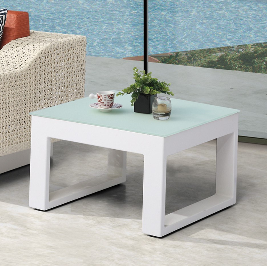 Contract Quality Outdoor Side Table Glass Top