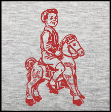 Load image into Gallery viewer, boy t shirt, boy on toy horse, tee,
