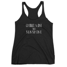Load image into Gallery viewer, chilled wine and sunshine, wine, alcohol, wine shirt, tank top, womens tank top,