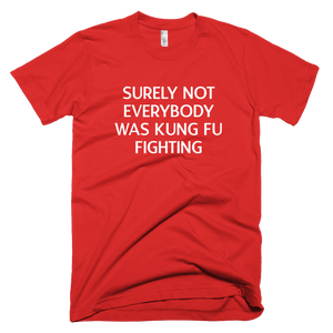 surely not everyone was kung fu fighting, t shirt, printed shirt,