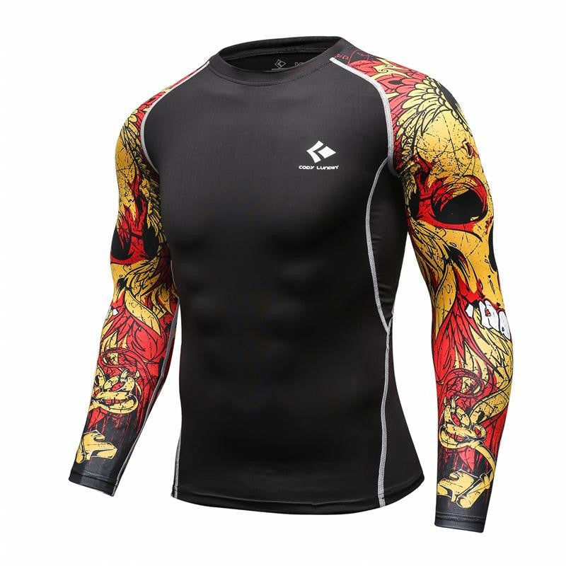 MMA Rash Guard - Skull Sleeves