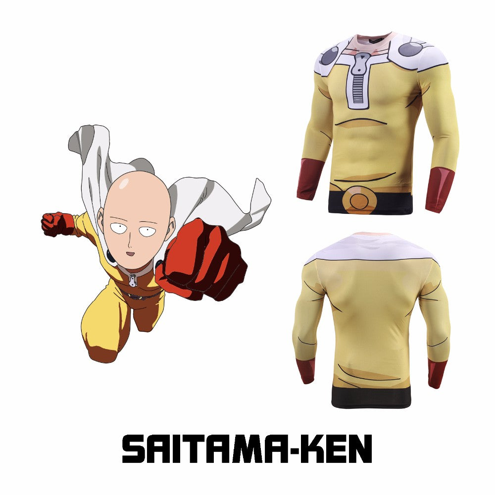 The new Fashion Anime One Punch Man 3D Printed Saitama rash guard