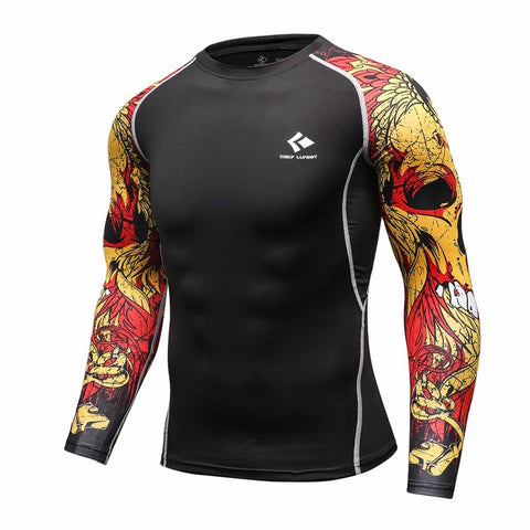 mma long sleeve rashguard with skulls