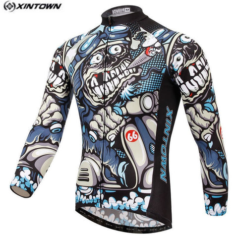 Gray Skull Bike Jersey - Rash Guard Hero