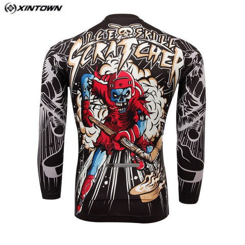 Long Sleeve Bike Jersey Red Skull - Rash Guard Hero