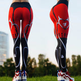 Sexy Red Print Fitness Slim Elastic Push Up Athleisure Leggings - Rash Guard Hero