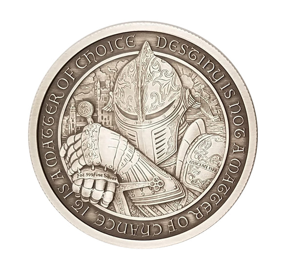"THE SHIELD - 2 oz ""ANTIQUED"" .999 Fine Silver Round - The Destiny Series"