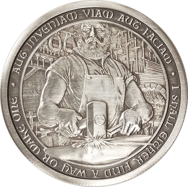 "Duncan - The Blacksmith: 2 oz ""ANTIQUED"" .999 Fine Silver Coin"