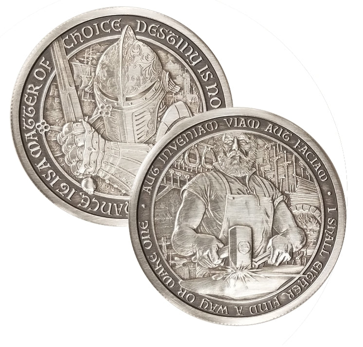 "Duncan - The Blacksmith: 2 oz ""ANTIQUED"" .999 Fine Silver Coin - The Destiny Series"