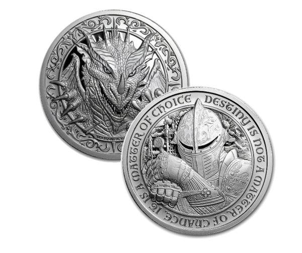 "THE DRAGON: 2 oz ""Brilliant Uncirculated"" .999 Fine Silver Round - The Destiny Series"