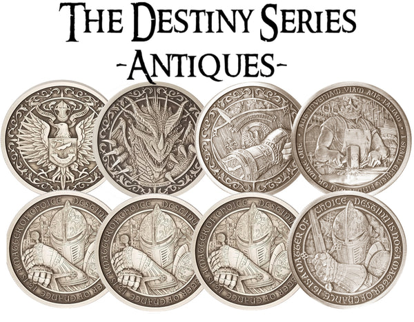 All Four Destiny Series Antique Rounds (8 oz silver total)